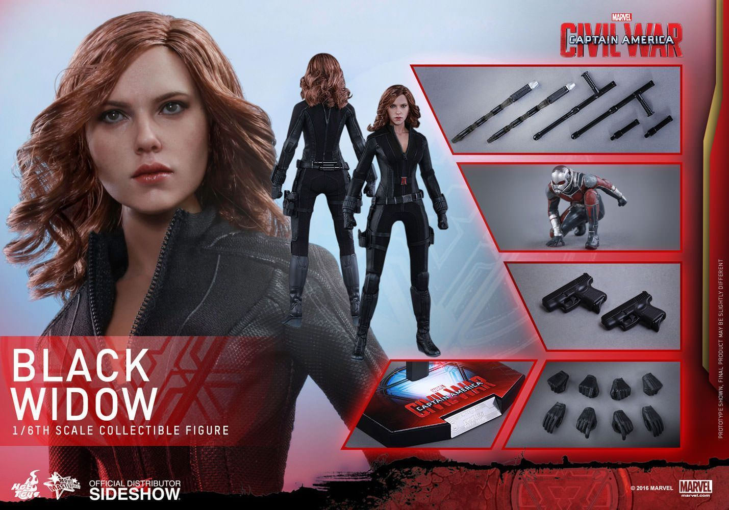 Hot Toys One Sixth Scale Civil War Black Widow Figure
