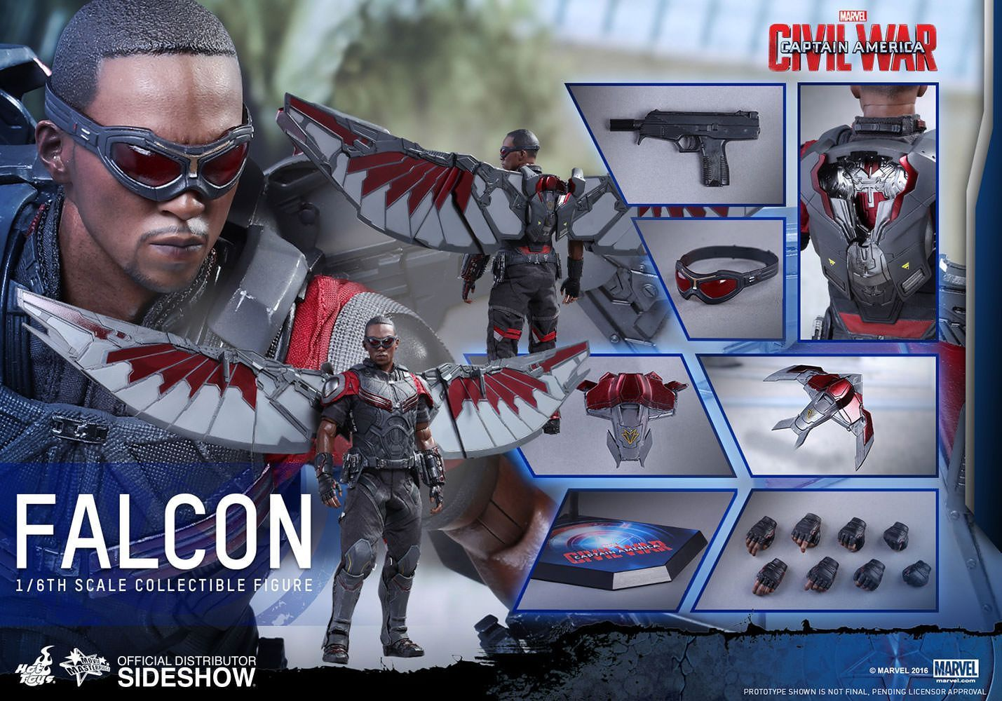 Hot Toys One Sixth Scale Civil War Falcon Figure