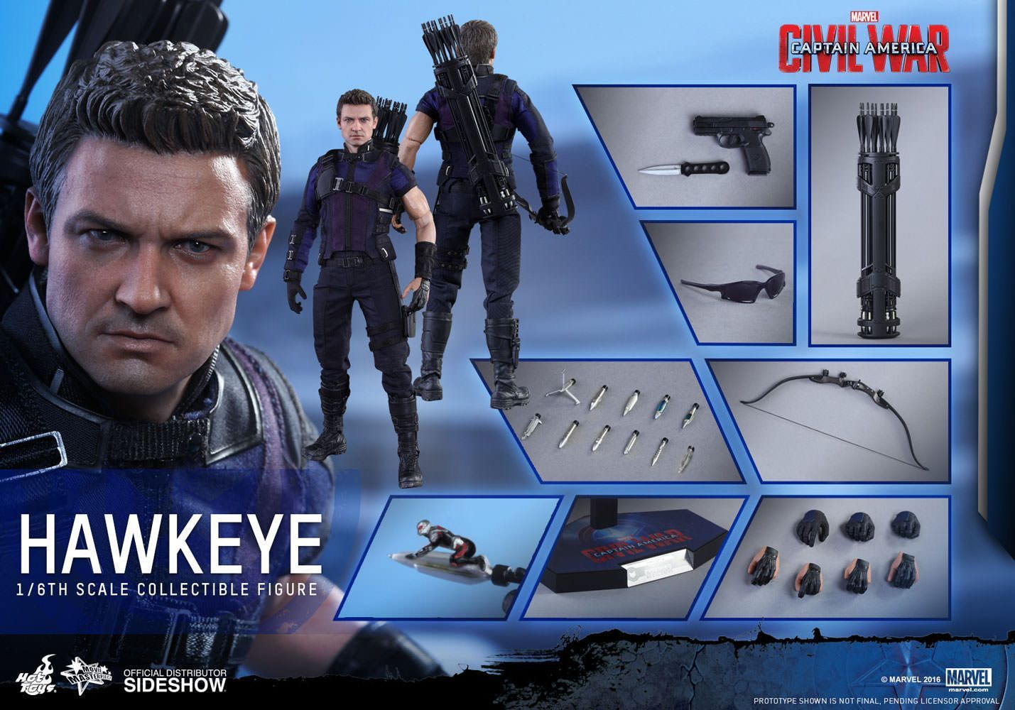 Hot Toys One Sixth Scale Civil War Hawkeye Figure