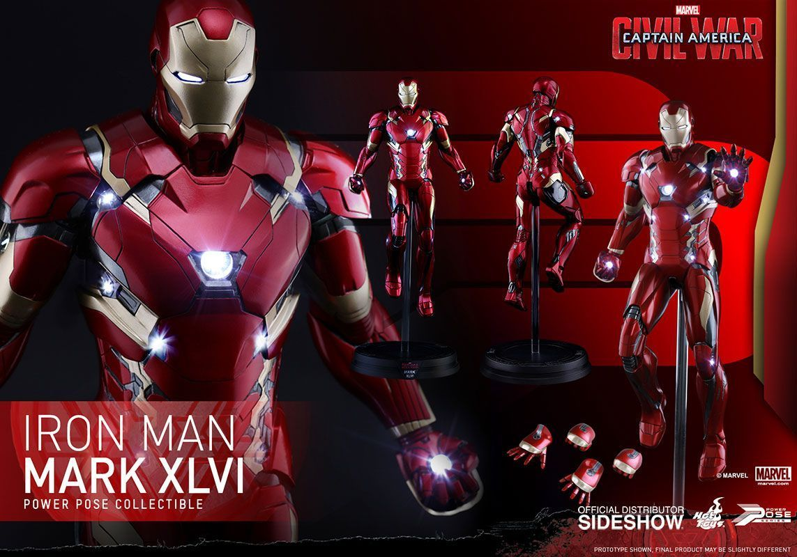 Hot Toys One Sixth Scale Civil War Iron Man Mark Xlvi Figure