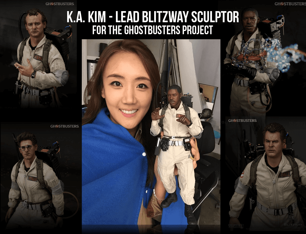 Blitzway's K.A Kim Hold One of Her Ghostbuster Figures That She Helped Design!