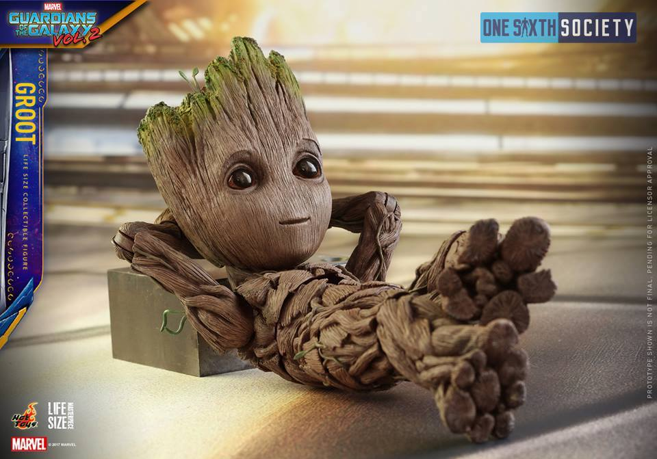 This might be the cutest photo of the Hot Toys Guardians of the Galaxy Vol. 2 Baby Groot laying down!