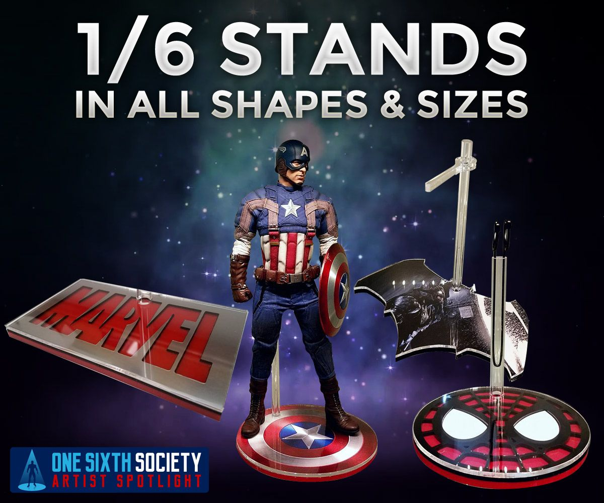 If you are looking for custom 1/6 scale stands then Custom 1-6 Scale Figure Stands By Stoney's Stands if your best bet