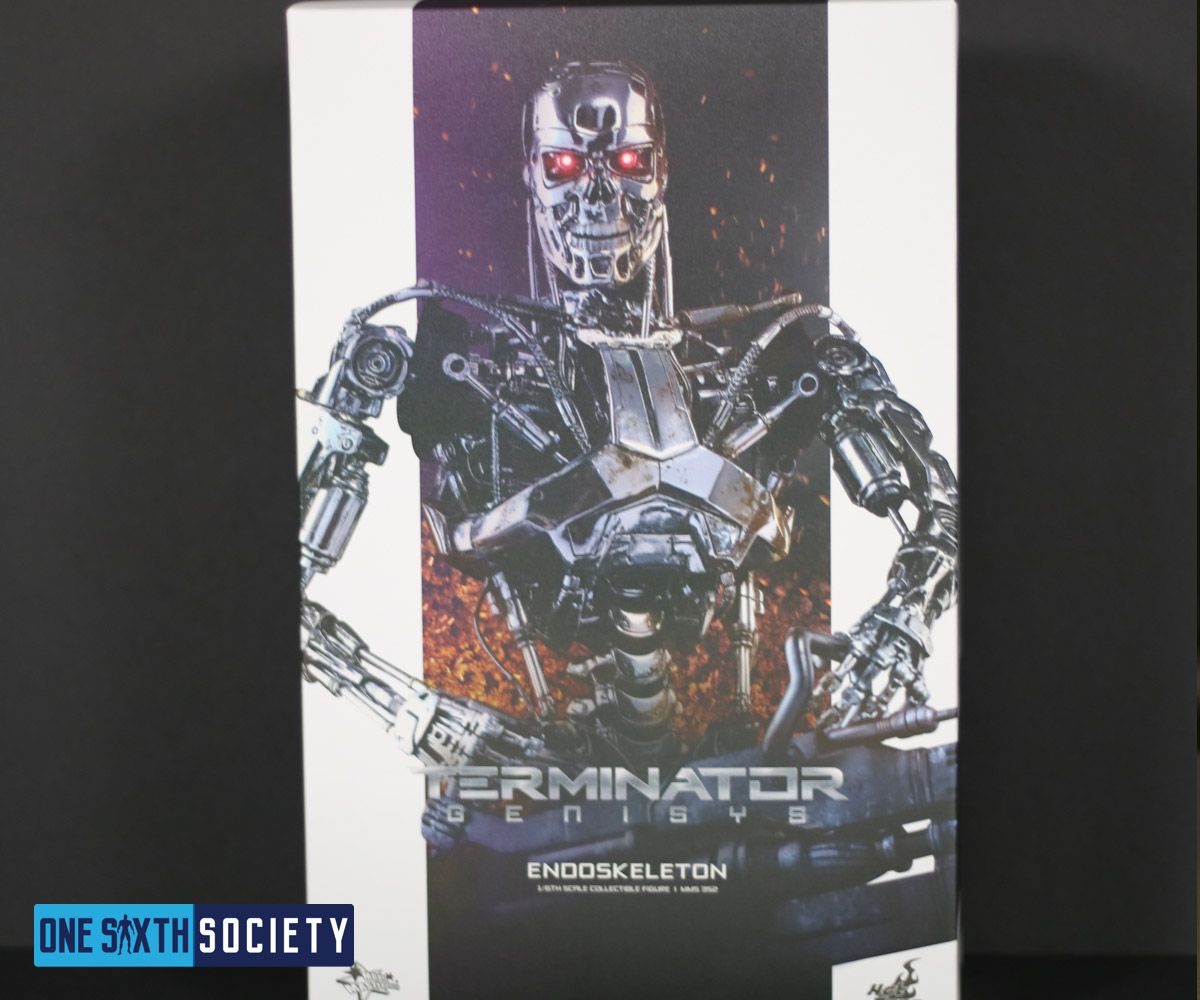 The Hot Toys Terminator Genisys Endoskeleton Box Art is beautiful