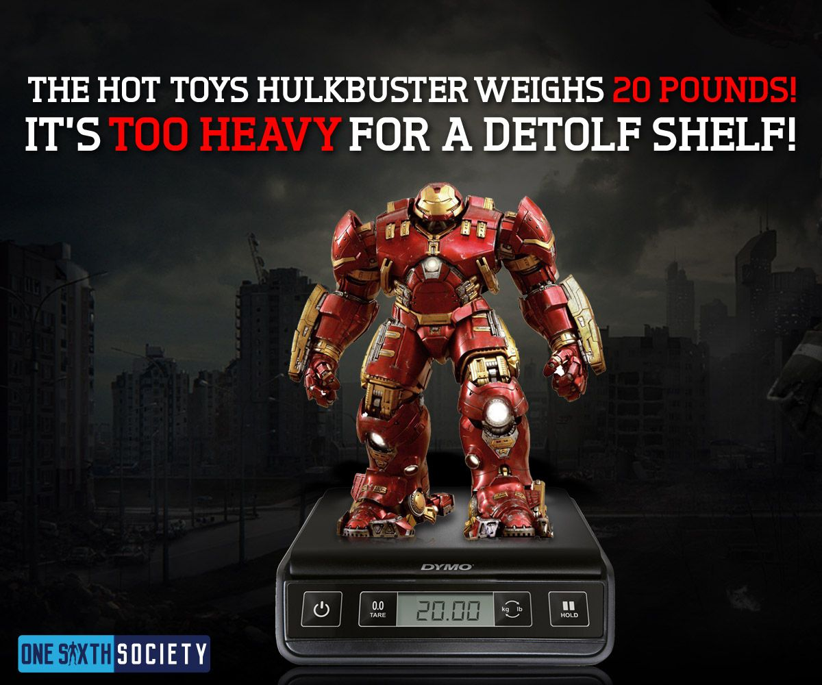 The Hot Toys Hulkbuster weighs 20 Pounds